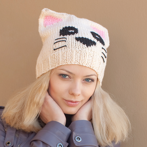 Вязание шапок кошка схема - Master class.