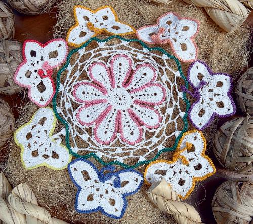 вязание ажурное цветы