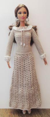 платье с отложным воротничком и манжетами для Барби, Одежда для кукол