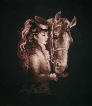 Дама с лошадью, Вышивка крестиком