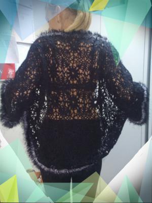 Кардиган черный, Ажурное вязание
