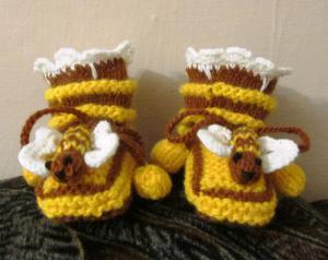 """пинетки """"Пчелки"""", Вязание на спицах"""