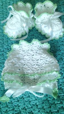 Комплект для новорожденного пинетки и чепец, Одежда для детей