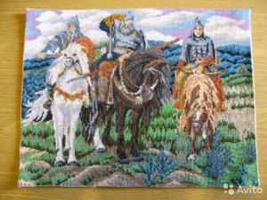 "Вшивка крестом "" Три богатыря"" р.31x41  цена 3000, Вышивка крестиком"
