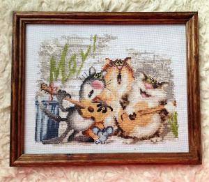 """вышитая картина коты """"Веселая компания"""", Вышивка крестиком"""