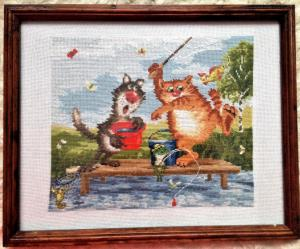 """вышитая картина коты """"Веселая рыбалка"""", Вышивка крестиком"""