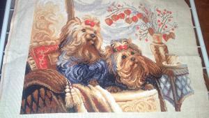 """""""Домашние любимцы"""" 40х30, 18 цветов, канва лён, нитки шерсть, Вышивка крестиком"""