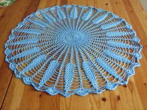 Мини-скатерть ажурная голубая, Ажурное вязание