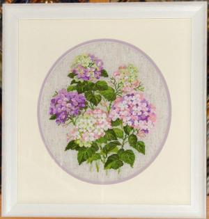 Риолис (Сотвори Сама) 1246 Садовая гортензия, 35х35, 13 цветов, нитки шерсть, счетный крест, Вышивка крестиком