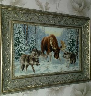 картина вышитая крестиком, Животные