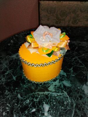 Шкатулка овальная жёлтая 141210, Декоративные аксессуары