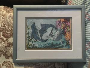 Дельфины, Вышивка крестиком