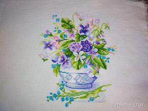Цветы, Вышивка крестиком
