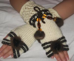 Митенки, Ажурное вязание