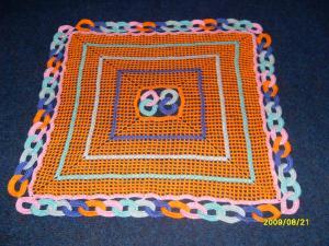 Квадратная салфетка, Филейное вязание