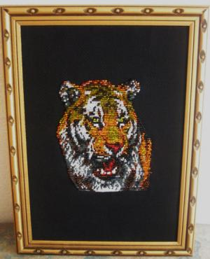 Тигр (вышивка бисером)