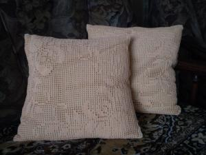 Подушки, Филейное вязание