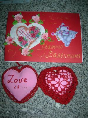 Валентинки, Вышивка крестом