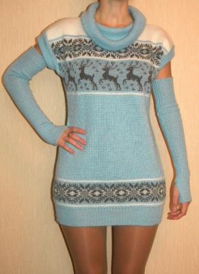 Платье-туника вязаное (мохер), Вязание на машине