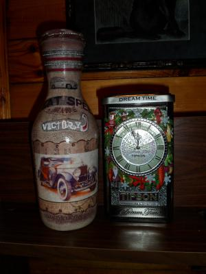 Баночки, бутылочки, фляжки, Декупаж