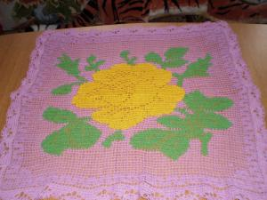 Салфетка филейная с Розой, Филейное вязание