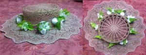 летняя шляпка, крючок, лен, 5000, Шляпы, панамки