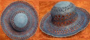 летняя шляпка, крючок, голубая, ирис, 6000, Шляпы, панамки